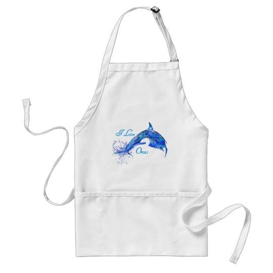 I LOVE ORCAS BLUE ADULT APRON