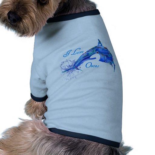 I LOVE ORCAS BLUE DOG T SHIRT