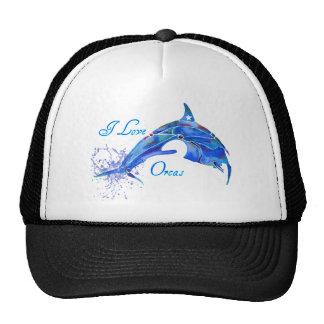 I LOVE ORCAS BLUE TRUCKER HAT