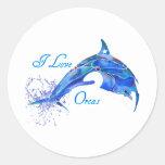 I LOVE ORCAS BLUE ROUND STICKER