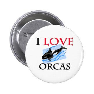 I Love Orcas Button