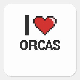 I love Orcas Digital Design Square Sticker