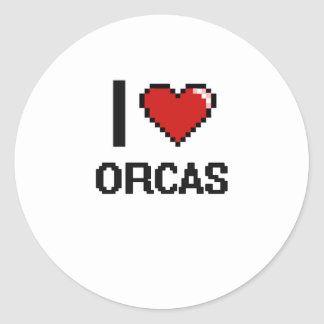 I love Orcas Digital Design Classic Round Sticker