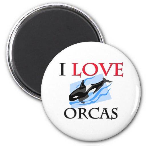 I Love Orcas Fridge Magnet
