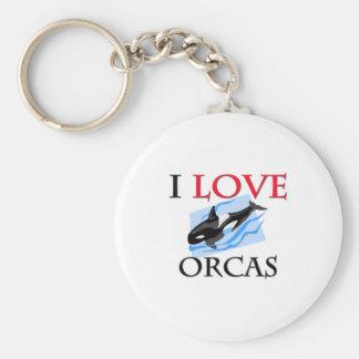 I Love Orcas Key Chain