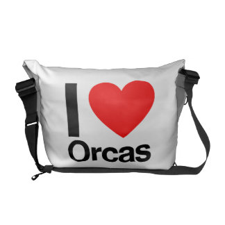i love orcas messenger bags
