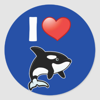I Love Orcas Stickers