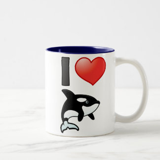 I Love Orcas Two-Tone Coffee Mug