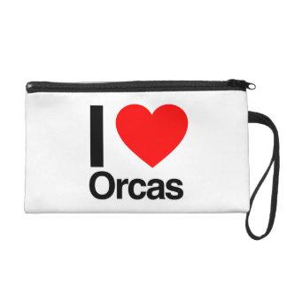 i love orcas wristlet purses