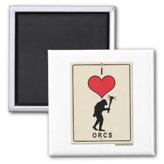 I Love Orcs 2 Inch Square Magnet
