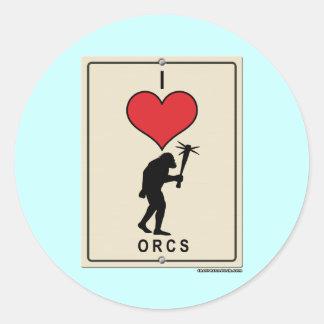 I Love Orcs Classic Round Sticker