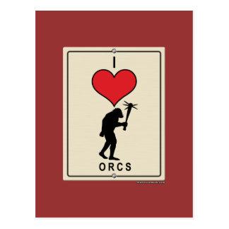 I Love Orcs Postcard
