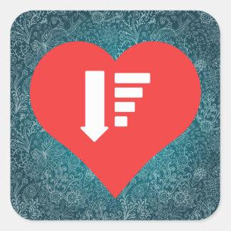 I Love order Design Square Sticker