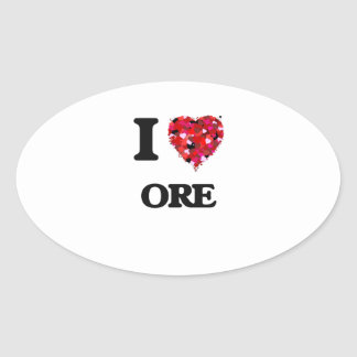 I Love Ore Oval Sticker