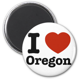I Love Oregon 2 Inch Round Magnet