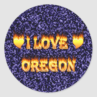 I love oregon fire and flames round sticker
