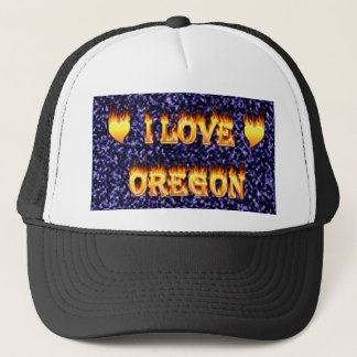 I love oregon fire and flames trucker hat