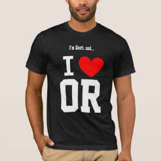 I Love Oregon or any State Red Heart T-Shirt