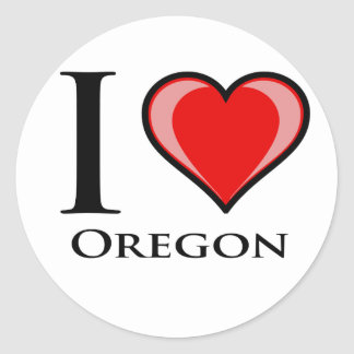 I Love Oregon Round Sticker