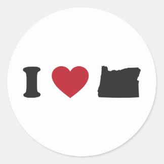 I Love Oregon Round Stickers
