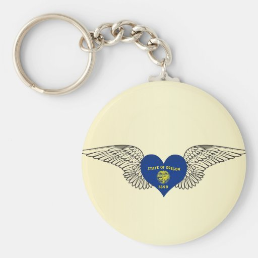 I Love Oregon -wings Basic Round Button Keychain