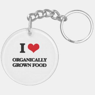I Love Organically Grown Food Double-Sided Round Acrylic Keychain