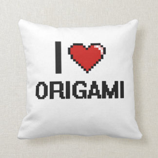 I Love Origami Digital Retro Design Pillows