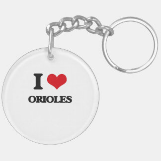 I Love Orioles Double-Sided Round Acrylic Keychain