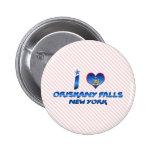 I love Oriskany Falls, New York Pinback Buttons