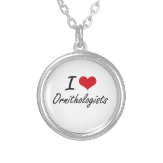 I love Ornithologists Round Pendant Necklace