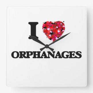 I Love Orphanages Square Wall Clocks