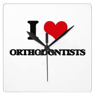 I love Orthodontists Square Wall Clock
