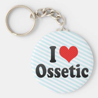I Love Ossetic Basic Round Button Keychain