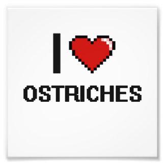 I love Ostriches Digital Design Photo Print