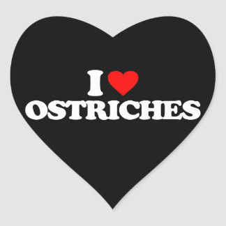 I LOVE OSTRICHES HEART STICKER