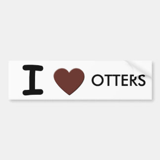 I LOVE OTTERS BUMPERSTICKER BUMPER STICKER