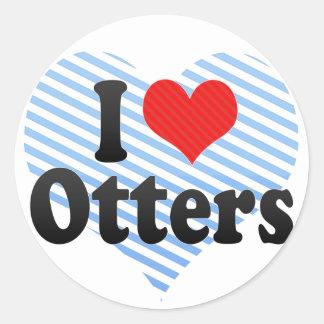 I Love Otters Classic Round Sticker