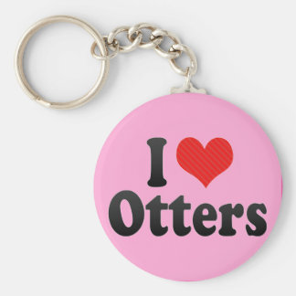 I Love Otters Key Chain