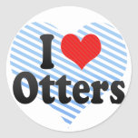 I Love Otters Round Stickers