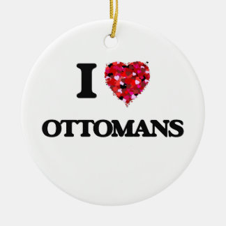 I Love Ottomans Double-Sided Ceramic Round Christmas Ornament