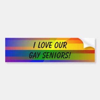 """I Love Our Gay Seniors!"" Bumper Sticker"
