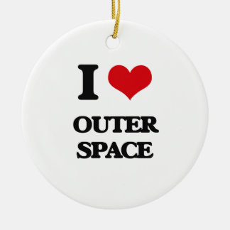 I Love Outer Space Double-Sided Ceramic Round Christmas Ornament