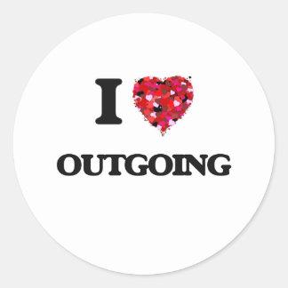 I Love Outgoing Classic Round Sticker