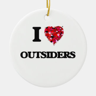 I Love Outsiders Double-Sided Ceramic Round Christmas Ornament