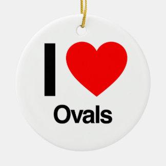 i love ovals christmas tree ornaments