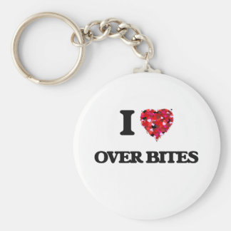 I love Over Bites Basic Round Button Keychain