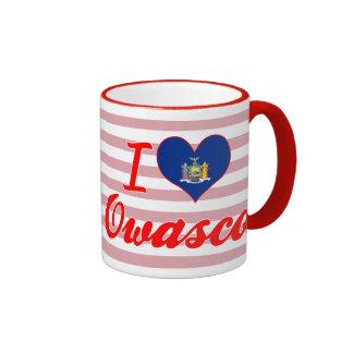 I Love Owasco, New York Ringer Coffee Mug