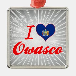I Love Owasco, New York Square Metal Christmas Ornament