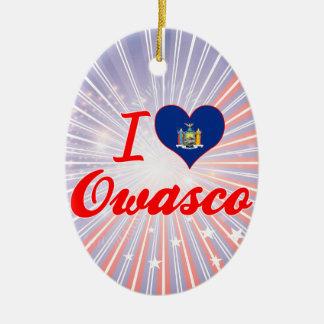 I Love Owasco, New York Double-Sided Oval Ceramic Christmas Ornament