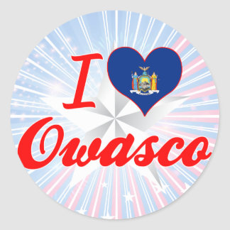 I Love Owasco, New York Round Sticker